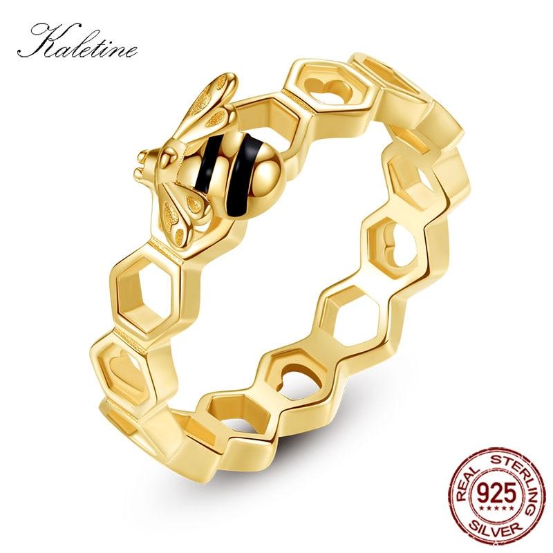 KALETINE Honeybee Heart Sterling 925 Silver Rings Love Multicolor Rose Gold Bee Honeycomb Rings For Women Men Jewelry Luxuy
