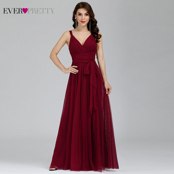 Bridesmaid Dresses 2020 Ever Pretty 5 Style Womens Fahion A-line V-Neck Elegant Long Chiffon Wedding Party Gowns - discount item  35% OFF Wedding Party Dress