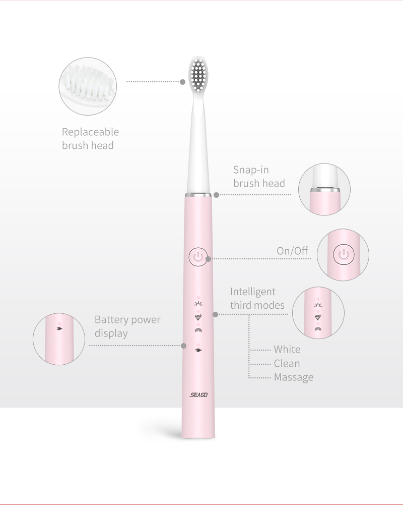 Seago Sonic Electric Toothbrush USB Charge for Adult with Brush Head Replacement 8