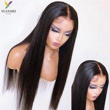 Barato 30 polegadas de longa peruca reta do cabelo humano para a parte dianteira preta do laço das perucas do cabelo humano densidade 8-36 polegadas peruca brasileira do laço