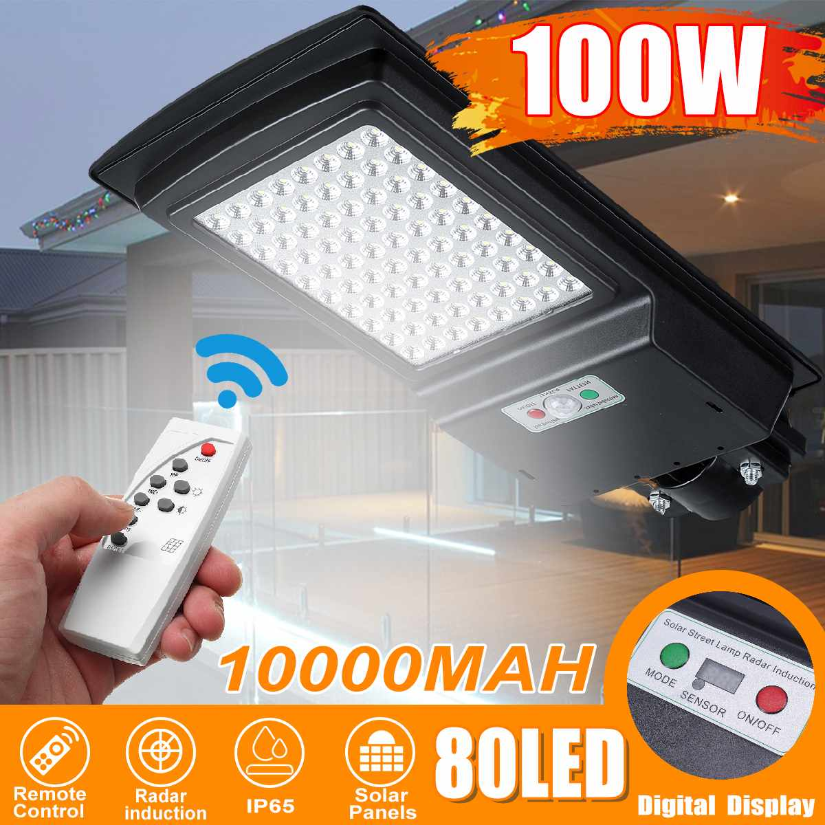 100W 80 LED Digital Wall Lamp IP65 Solar Street Light Radar Motion Constantly Bright & Induction Solar Sensor Remote Control|Street Lights| |  - title=