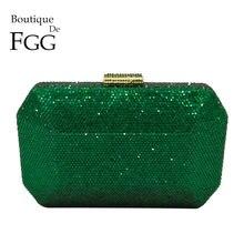 Boutique De FGG Scintillante Verde Smeraldo Wome Sacchetto di Sera di Cristallo Da Sposa di Diamanti Da Sposa Del Partito Della Frizione Minaudiere Borsa Della Borsa
