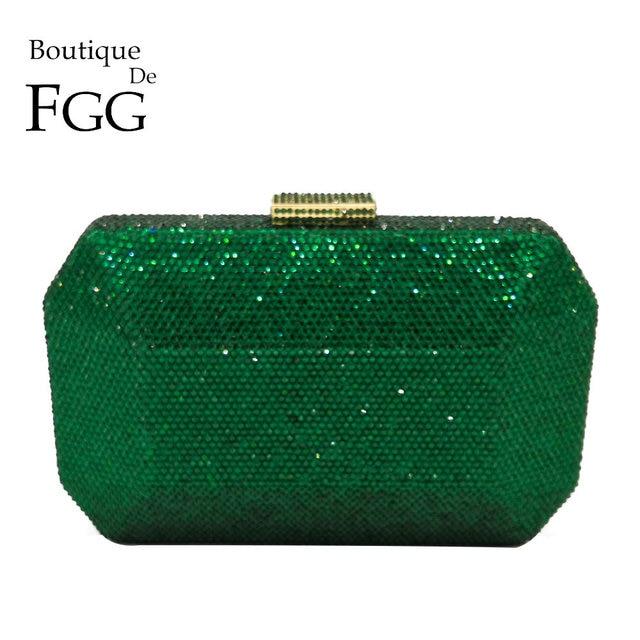 בוטיק דה FGG נוצץ ירוק אמרלד Wome גביש ערב שקית חתונה כלה יהלומי מצמד מסיבת Minaudiere תיק ארנק