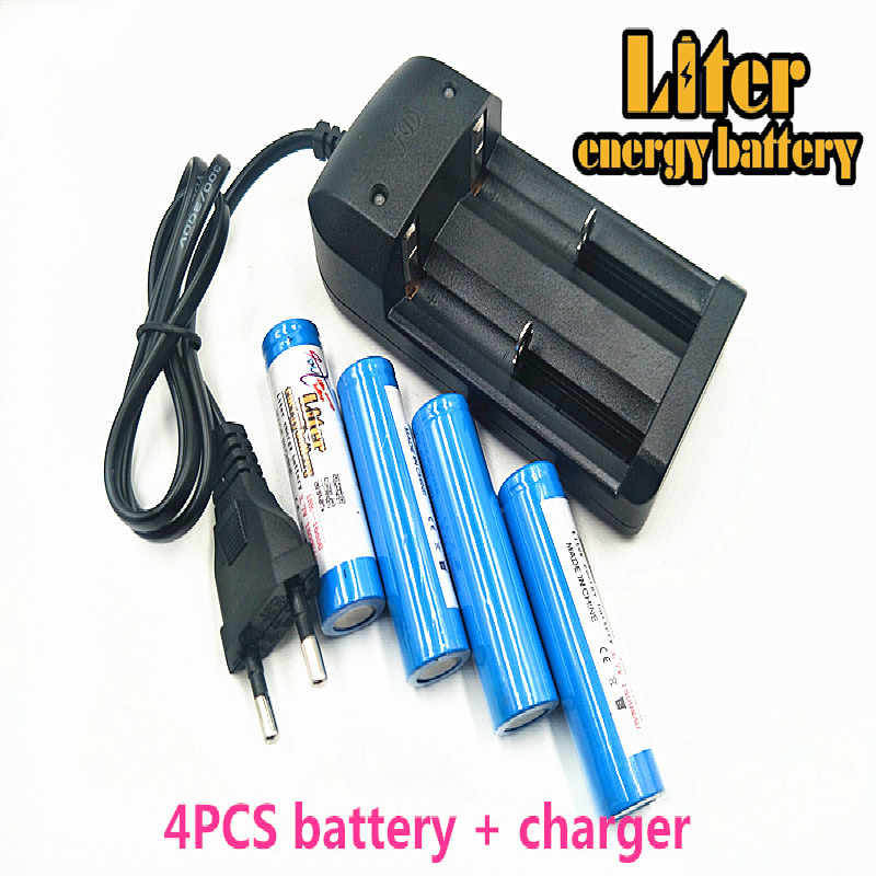 Liter energy <font><b>battery</b></font> <font><b>3.7V</b></font> 16650 <font><b>1800mAh</b></font> Rechargeable Li-ion <font><b>battery</b></font> + Travel Charger Can be used to LED Flashlight image