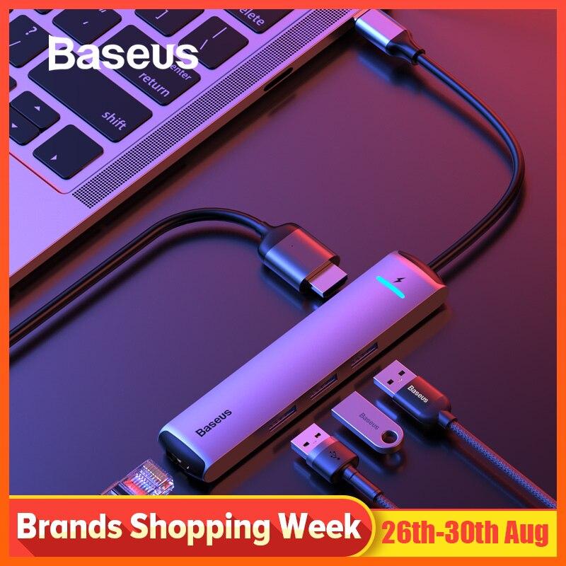 Moyeu de USB C Baseus vers HDMI USB 3.0 RJ45 adaptateur de lecteur de cardeur SD répartiteur USB pour MacBook Pro Air expansion 6 en 1USB Port Type C HUB