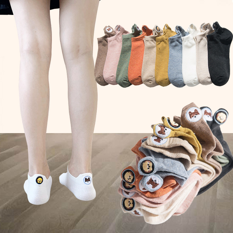 Jerrinut Women's Happy Fashion Ankle Funny Socks Summer Cotton Cute Kawaii Candy Color Harajuku Embroidered Dog Socks 3Pairs/Lot