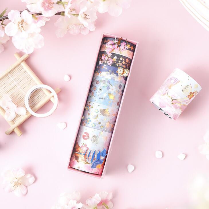 2020 Sharkbang 7 Rolls/Box Kawaii Cherry Blossom Cat Scrapbooking Bullet Washi Tape Decorative Masking Adhesive Tapes Stationery