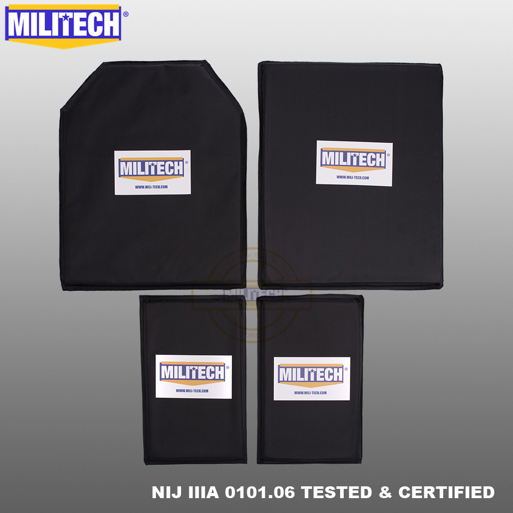 MILITECH Aramid Ballistic Panel BulletProof Plate Body Armor Soft Armour NIJ Level IIIA 3A 11x14 STC&SC And 6x10 Two Pairs