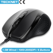TeckNet Mouse Pro S2 High Performance Wired Mouse 6 Buttons 2000DPI Gamer Computer Mouse Ergonomic Mice with Cable Desktop