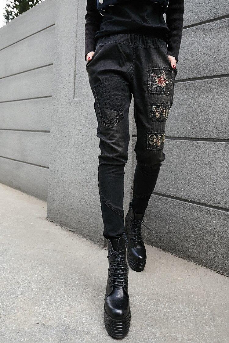LuLu 最大ルル春のファッションヴィンテージ弾性ハーレムパンツ韓国レディースブラックスキニーリッピング Natural 本日の割引 122