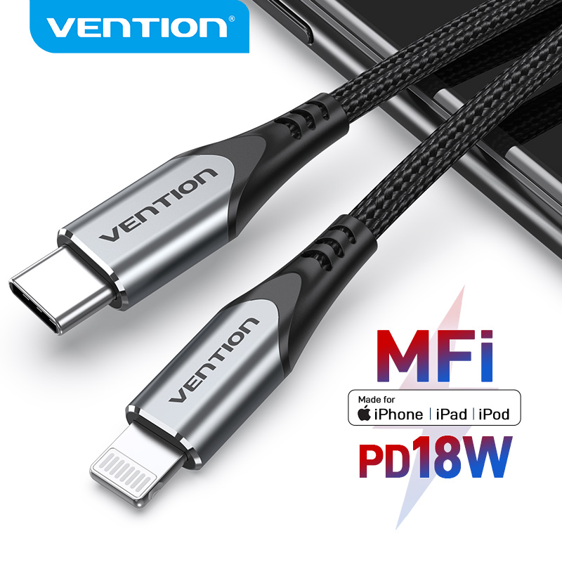 Vention MFi USB C to Lightning Cable for iPhone 12 mini Pro Max 8 Charger 18W Fast Charging Data PD Cable for iPhone Macbook 2m