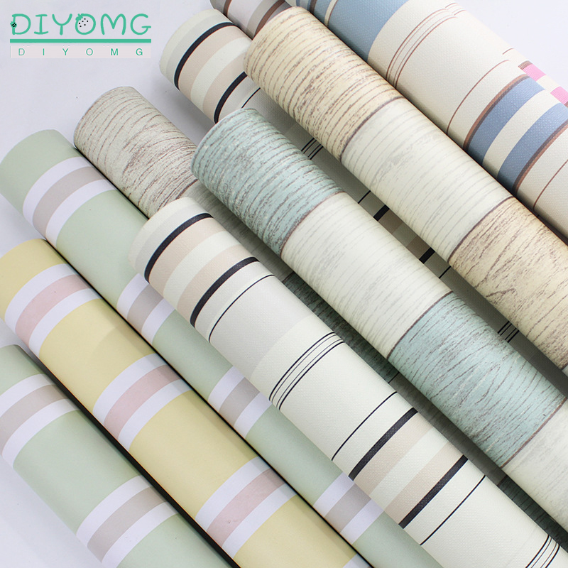 PVC Waterproof Striped Wallpaper Self Adhesive Wall Stickers Roll Furniture Desktop Wardrobe Cabinet Door Contact Paper Decor