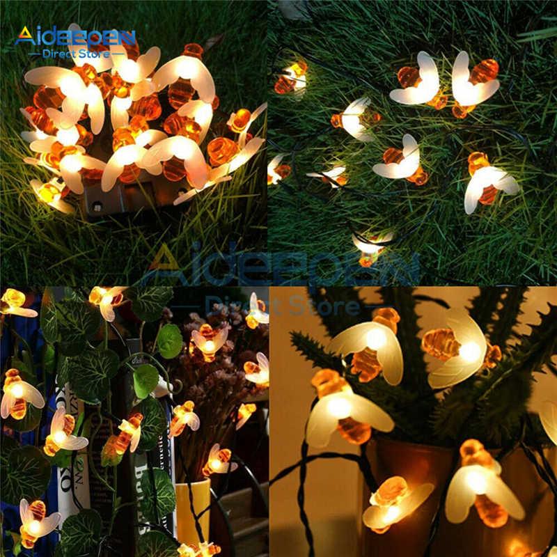 في الهواء الطلق تعمل بالطاقة الشمسية لطيف العسل النحل LED سلسلة الجنية أضواء 20 30 LED النحل مصباح سلسلة لحديقة سياج الباحة تزيين عيد الميلاد