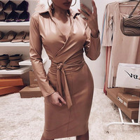 PU leather women dress Autumn 2019 long sleeve bodycon dresses streetwear Sashes knee elegant dress workwear vestidos mujer