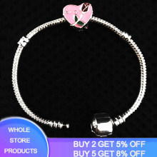 YANHUI New Fashion 925 Solid Silver Bracelet with Pink Heart Charm Pan 3mm Snake Bone Flower Charm Bracelet Women Gift Jewelry(China)
