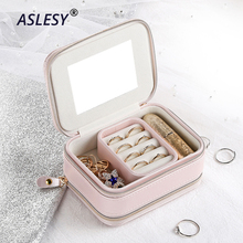 Multi-function Jewelry Box Cosmetic Storage Makeup Leather Organizer Earrings Ring Display Casket Travel Container Portable Case new arrive hot 2pc set portable jewelry box make up organizer travel makeup cosmetic organizer container suitcase cosmetic case