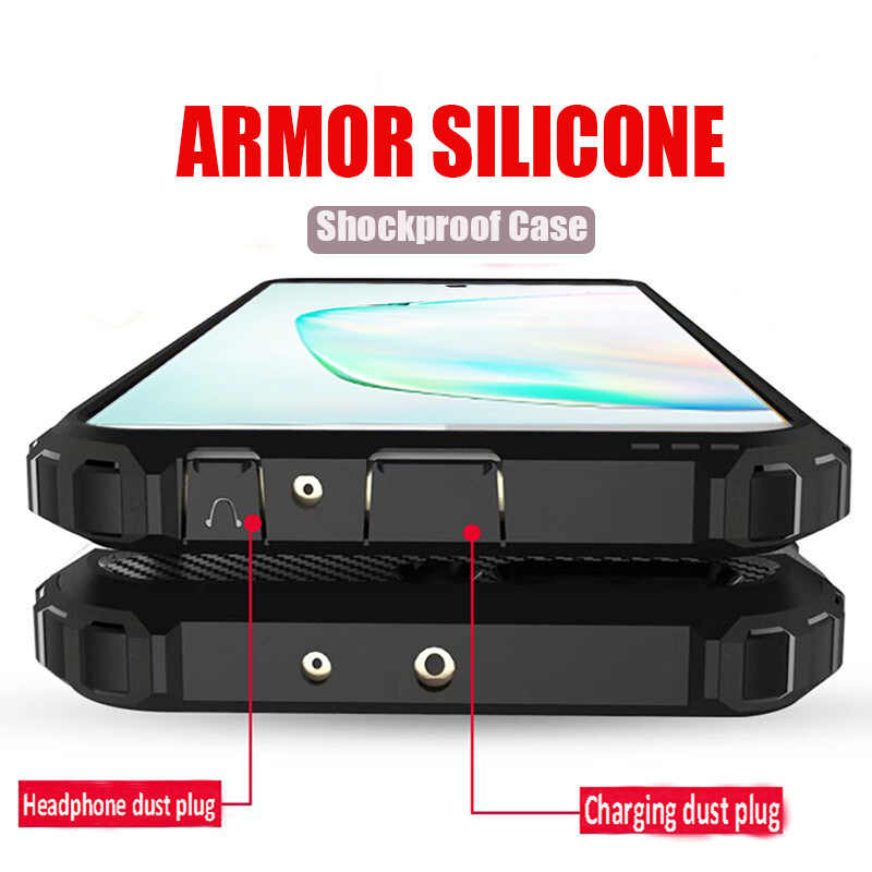 Luxe Armor Shockproof Bumper Case Voor Samsung Galaxy Note 10 Plus S9 S8 S10 siliconen Case S8 S9 S10e Plus volledige Cover Soft Case