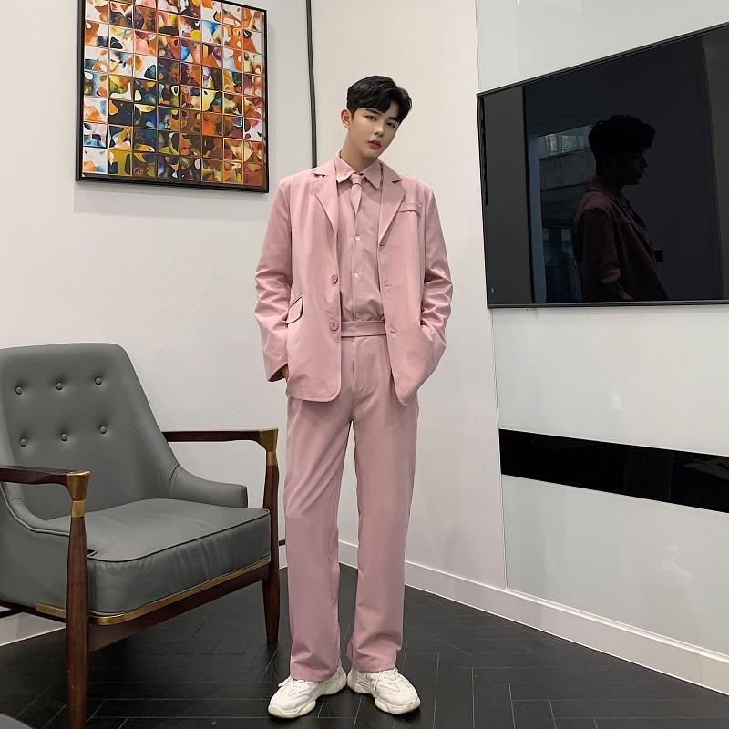 Men 3 Pieces Sets (jacket+shirt+pant)  Male Women Vintage Fashion Streetwear Hip Hop Loose Casual Pink Suit Blazer Jacket