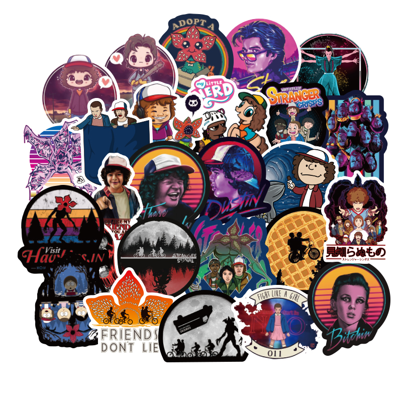50pcs Stranger Things Stickers Anime Pegatina For Children On The Laptop Fridge Phone Skateboard Suitcase Funny Stickers Laptop