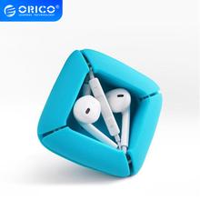 ORICO Winder Organizer do kabli silikonowe elastyczne zarządzanie kabel z zaciskami uchwyt do słuchawek słuchawki kable ELR1 trzy kolory tanie tanio CN (pochodzenie) Square 65*65*20mm Earphones Cable Organizer Wire Storage Earphone holder