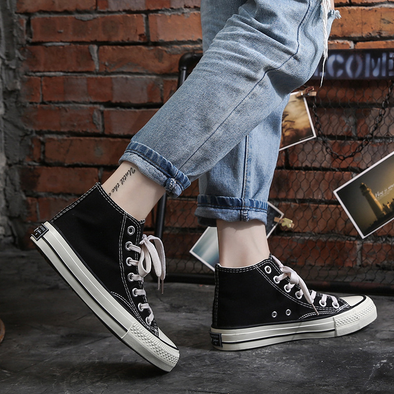 Classic Retro High Top Canvas Shoes For Women Sneakers Flats Shoes Fashion Casual Shoes Student Cloth Shoes Board Tide Shoes