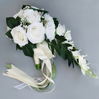 Waterfall Silk Rose Wedding Bouquet for bridesmaids Bridal Bouquets White Artificial Flowers Mariage Supplies Home Decoration