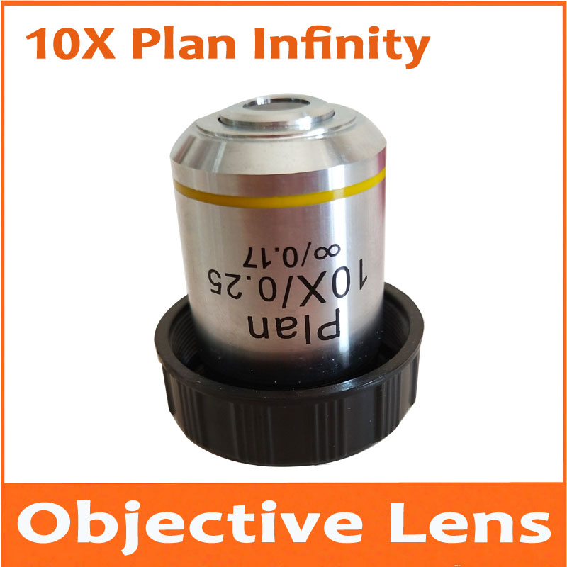 1pc 10X 195 Metal Infinity Plan Achromatic Objective Lens Educational Olympus Biomicroscope Biological Microscope 20.2mm