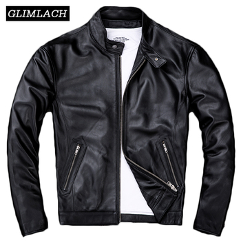 2020 Black Real Leather Lambskin Jacket Men Large Size 4XL Motorcycle Mens High Quality Genuine Sheepskin Slim Short Coat - discount item  40% OFF Coats & Jackets