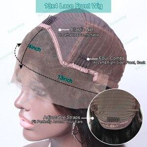 Image 5 - 13X4 dantel ön İnsan saç peruk ipeksi düz brezilyalı Remy Frontal peruk ön koparıp bebek saç kadınlar için xcsunny