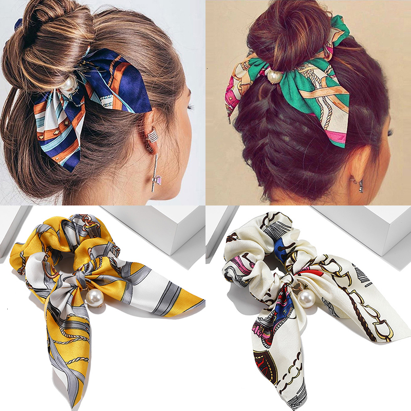 Chiffon Bowknot Hair Scrunchies Fashion Women Pearl Ponytail Holder Tie Hair Elastic Rubber Bands Hair Accessories Rabbit Ears