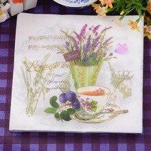 20 piezas flor de lavanda púrpura florero de papel servilleta vintage decoupage manteles individuales para boda cafetería suministros de decoración para fiesta