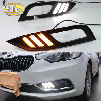 цена на For Kia K3 Cerato 2013 2014 2015 2016 SNCN Led Daytime Running Lights DRL fog lamp cover with Yellow Turning Signal Function