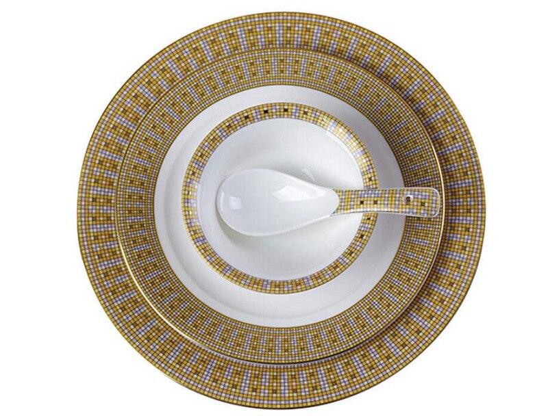 Service d'assiettes à dîner rondes en céramique | En or, en porcelaine, vaisselle à Steak, bol à soupe de riz, cuillère maison Dec 3 pièces/ensemble - 3