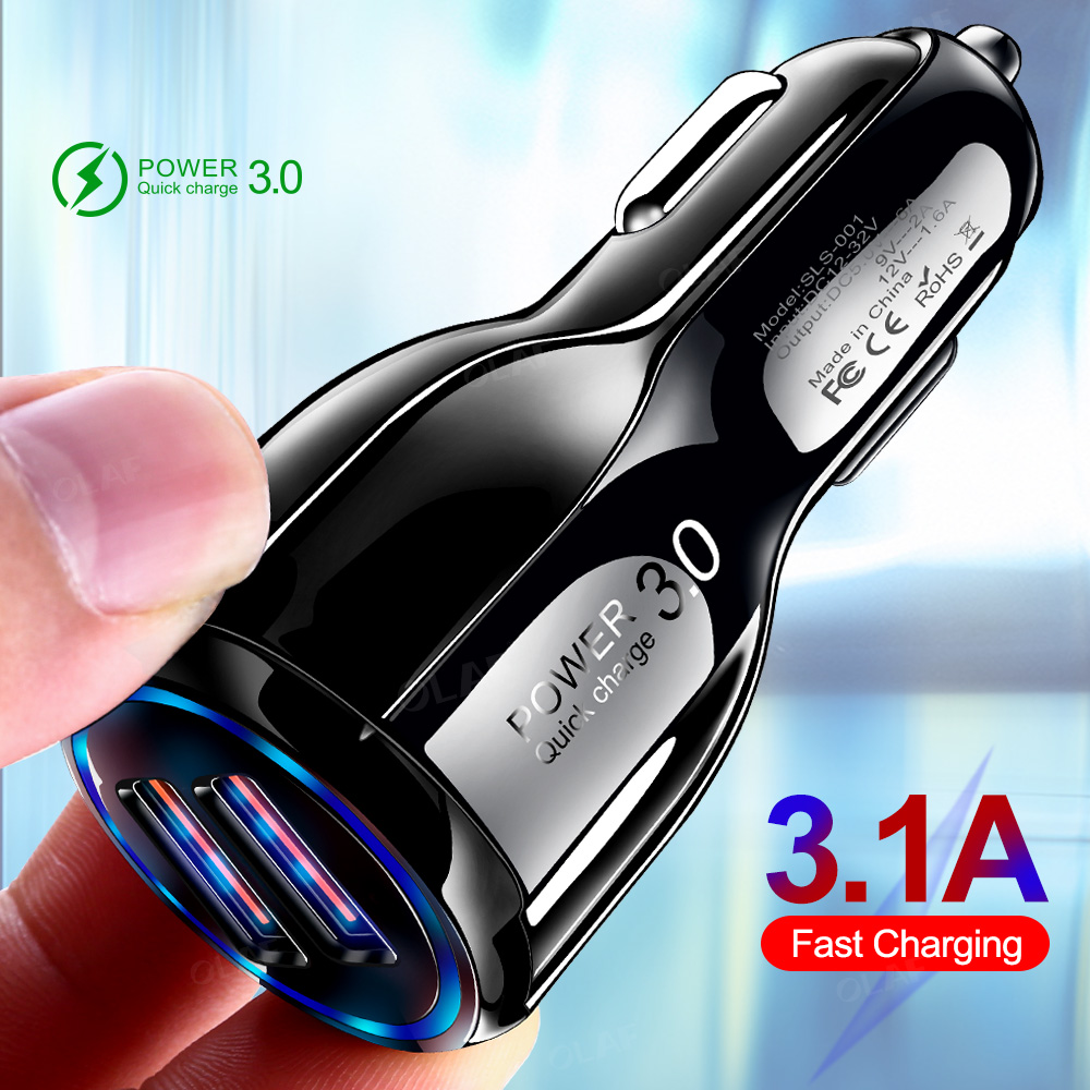 Image 2 - Olaf Car USB Charger Quick Charge 3.0 2.0 Mobile Phone Charger 2 Port USB Fast Car Charger for iPhone Samsung Tablet Car Charger-in Car Chargers from Cellphones & Telecommunications