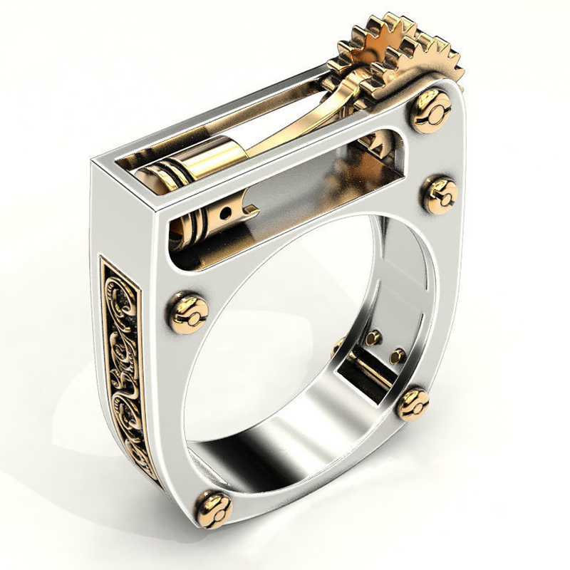 New Finger Rings For Women Modern Wedding Jewelry Fashion Mechanical Gear Wheel Silver Color Punk Wedding Band Men Ring F3T292