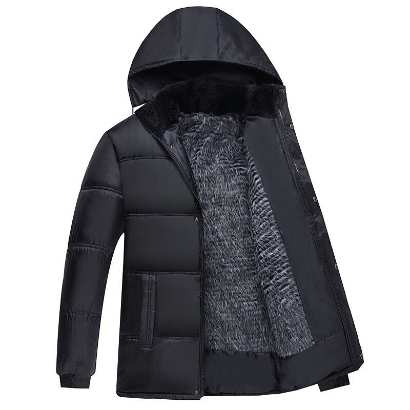 Fashion Winter Hooded Coat Men Thick Warm Winter Jacket Men Windproof Father's Gift Parka Puffer Jacket Clothing Plus Velvet