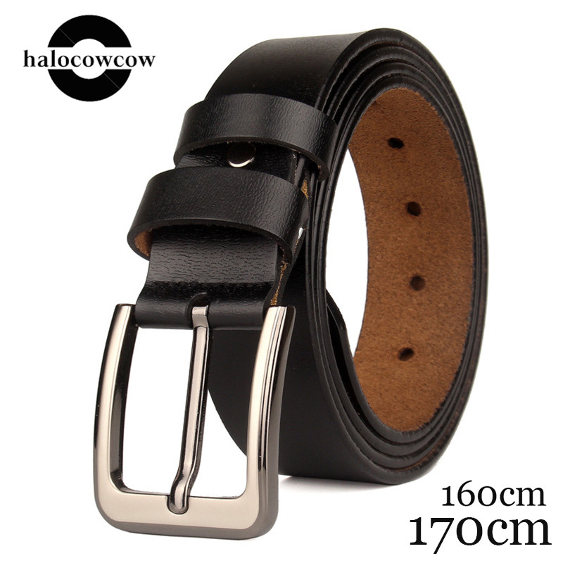 130 140 150 160 170cm Real Genuine Leather   Belts   for Man Top Quality Male Casual Pin Buckle   Belt   Men   Belt   Leather Luxury Brand