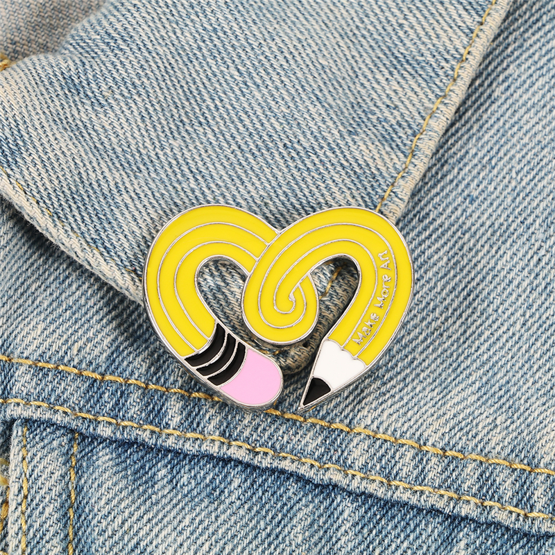 Twisted Pencil Heart Enamel Pin Make More Art Brooch Metal Button Pins for BackPack Shirt Badge Cartoon Jewelry Gift for Friends