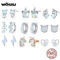 WOSTU 925 Sterling Silver Opal Stud Earrings Cat Unicorn Heart Blue Opal Earrings For Women Original Silver 925 Jewelry