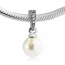 Elegant Beauty White Pearl Charms for Bracelets & Bangles DIY Jewelry Women Fine 925 Sterling Silver Charms for Jewelry Making(China)