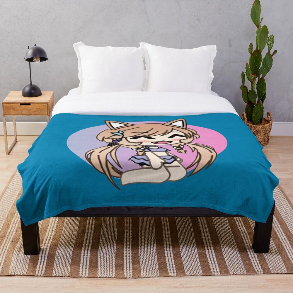 Cute Gacha Life Style Kawaii Chibi Kitty Gir Throw Blanket Soft Sherpa Blanket Bed Sheet Single Knee Blanket Office Nap Blanket