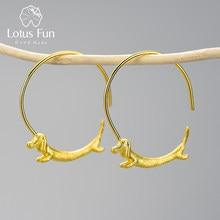 Pendientes redondos de aro Lotus Fun para mujer, aretes dorados de 18K, con perro salchicha volador, Plata de Ley 925 auténtica, 2021
