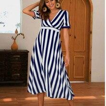 Women Streetwear Elegant Striped Midi Dress Casual Boho Wrap Short Sleeve V Neck