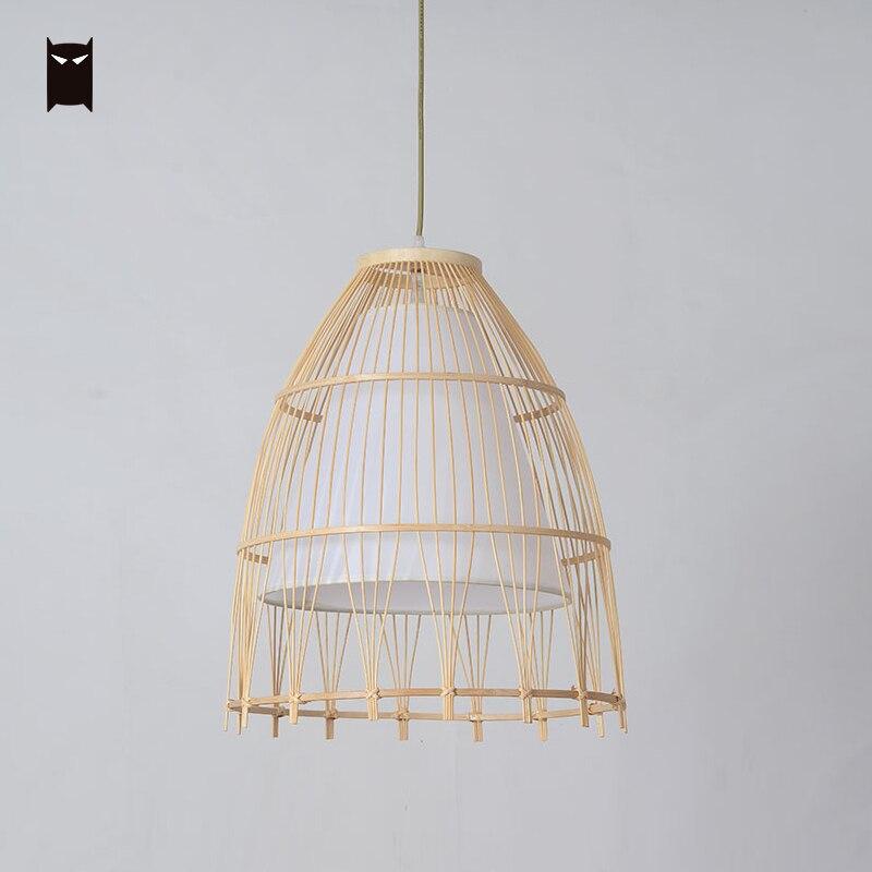 Бамбуковая плетеная ротанговая ткань тени кулон на шнурке светильник японский деревенский минималистичный художественный подвесной свет... - 3