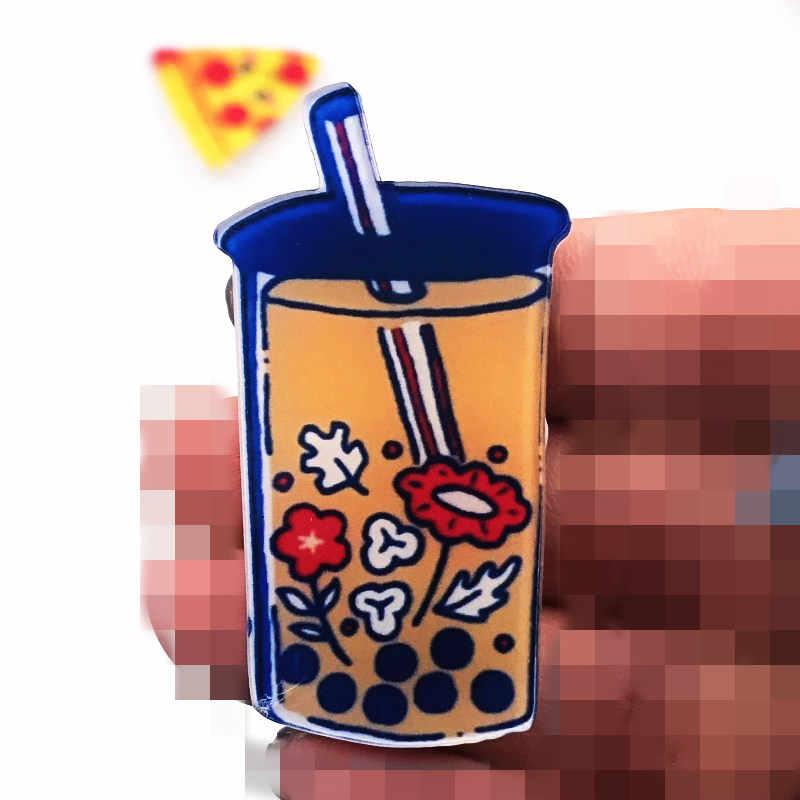1pcs serie di Prodotti Alimentari di coke sushi Drink Ragazza Acrilico di Arte Distintivo Studente Zaino Abbigliamento Decor Spilla Del Vestito Della Decorazione Della Cinghia del Distintivo