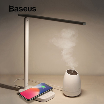 Baseus Lamp Qi Wireless Charger for iPhone XS Max X Foldable Table Desktop Desk LED Light Fast Wireless Charging Pad for Samsung