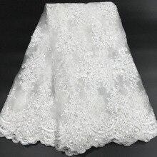 Tela de encaje francés con cuentas africano 2020, tela de encaje blanco de alta calidad, telas de encaje de malla de tul nigeriana para K D2327C de boda