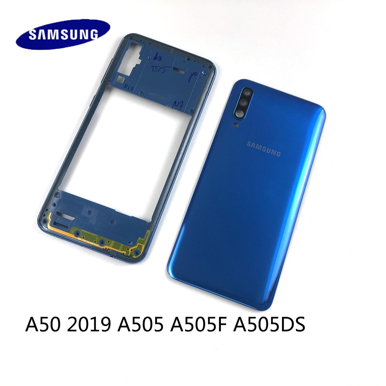 Чехол для Samsung Galaxy A50 2019 A505 A505F A505DS, чехол средней рамки + задняя крышка аккумулятора + крышка объектива камеры