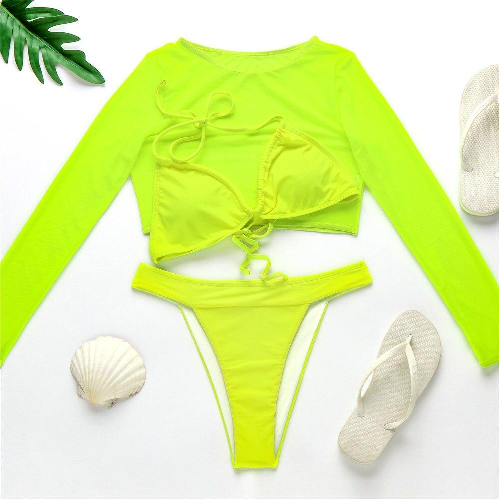 2020 Neon Yellow Crop Top Swimwear Women Summer Sexy Beachwear Mesh Long Sleeve Cover Ups Top Three Piece Swimsuit Bikini Set 5