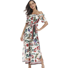 2019 Print Summer Autumn Dress Off Shoulder Midi Maxi Dress Women Pattern Slit Floral Holiday Vocation Beach Boho Dress HZ-1107 random floral print maxi dress with slit design